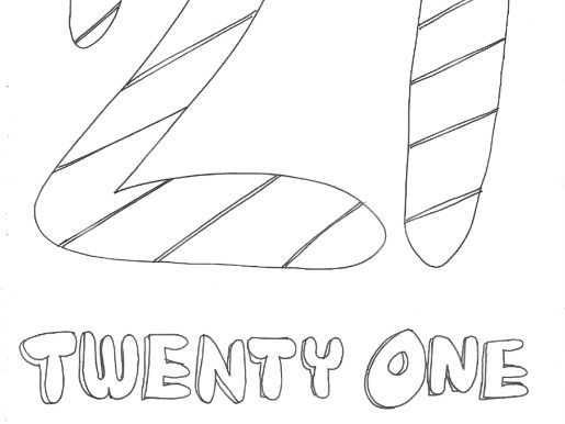 Twenty One: Numbers: Colouring Page