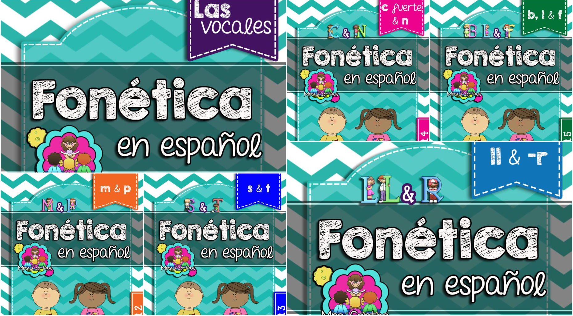 Spanish Phonics Super Bundle # 1: Sets 1-6
