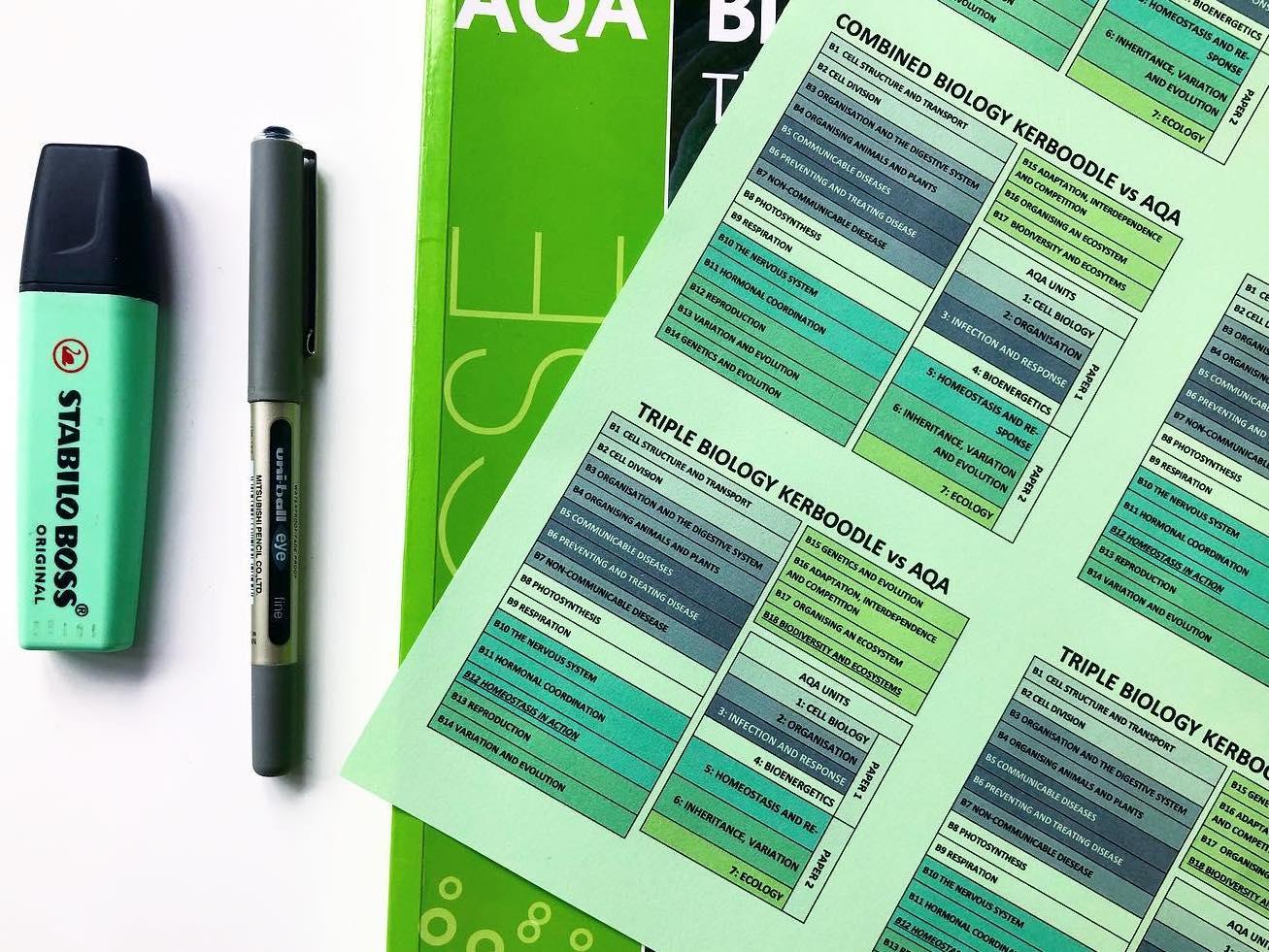 AQA vs Kerboodle spec sticker: Biology GCSE & combined