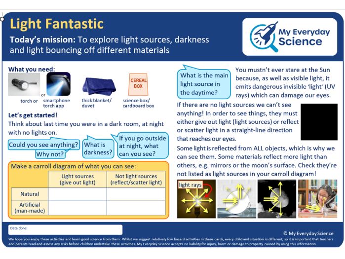 Y3 Light My Everyday Science Cards