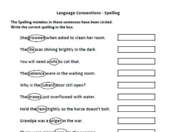 Years 7 and 9 Naplan Practice - Language Conventions - Spelling