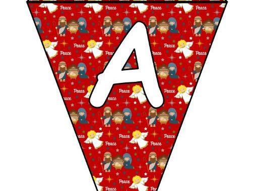 Printable bunting display bulletin letters numbers and more: Christmas Nativity