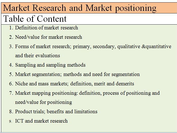 Market Research and Market positioning for A level Unit 1