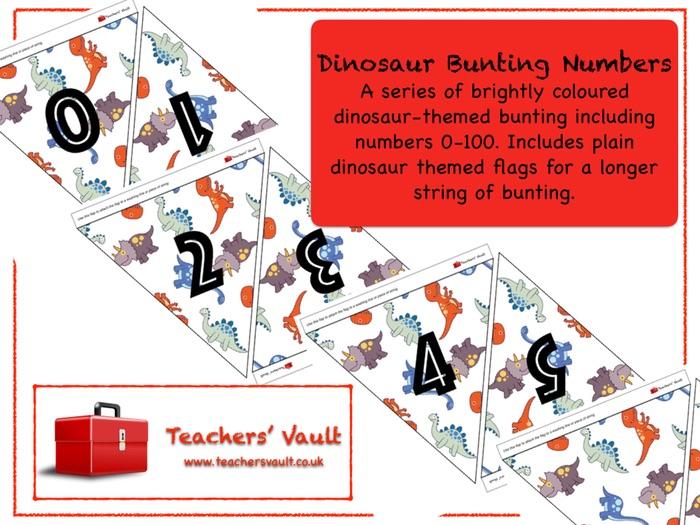 Dinosaur Bunting Numbers