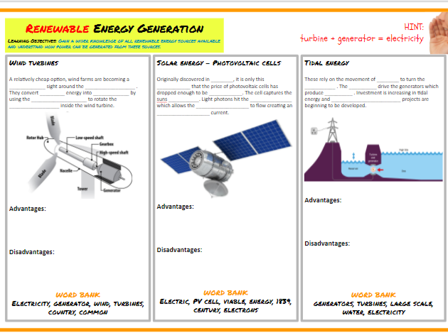 GCSE 1-9 Design & Technology - Unit 2 - Renewable energy generation worksheet