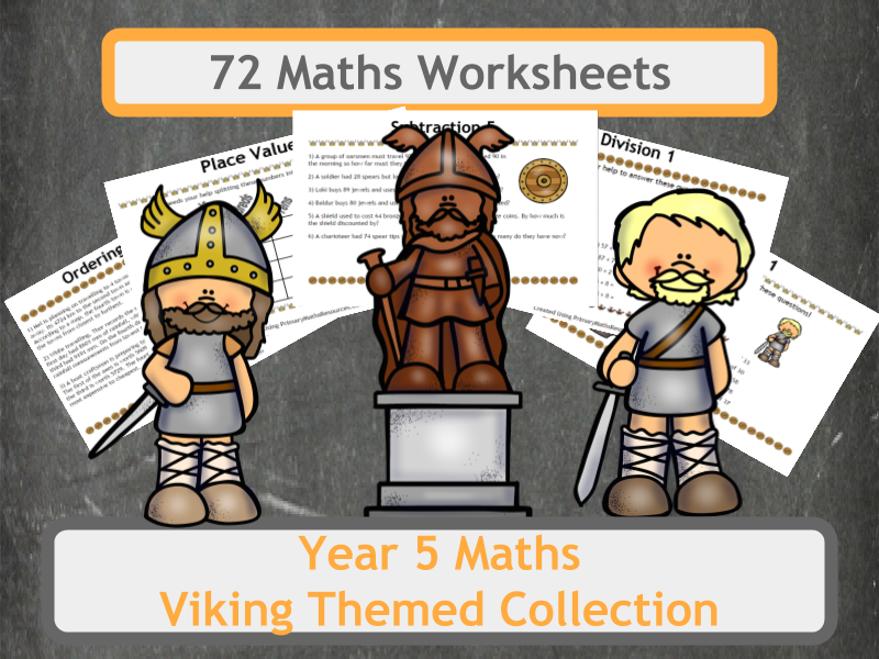 Viking Themed Maths Worksheet Bundle for Year 5 Classes