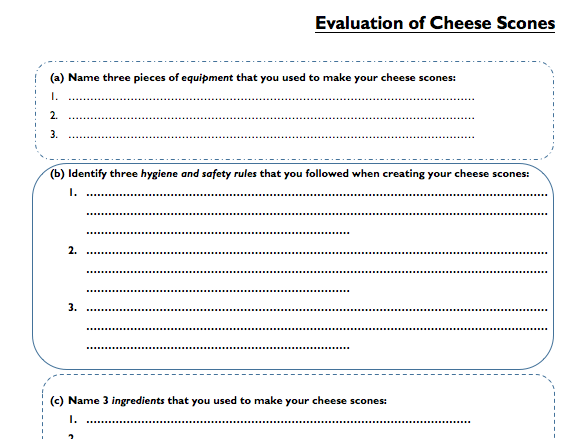 evaluation sheet for cheese scones by ohowick1 teaching