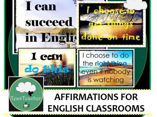 English Classroom Affirmation Posters for Décor Displays x 10