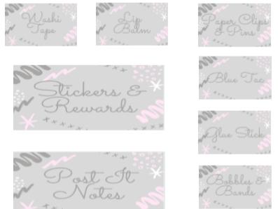 Teacher Toolbox Labels - Pastel Pink & Grey