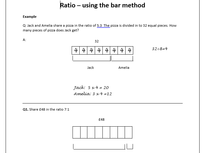Sharing in a Ratio- Bar Model Method Worksheet