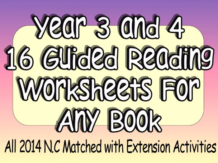 Guided Reading Style Worksheets/Activities For Any Book 2014 N.C Matched