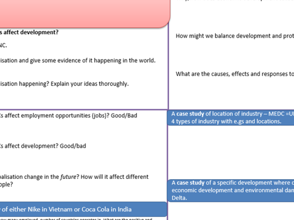 A3 revision grids - Key Themes - OCR B