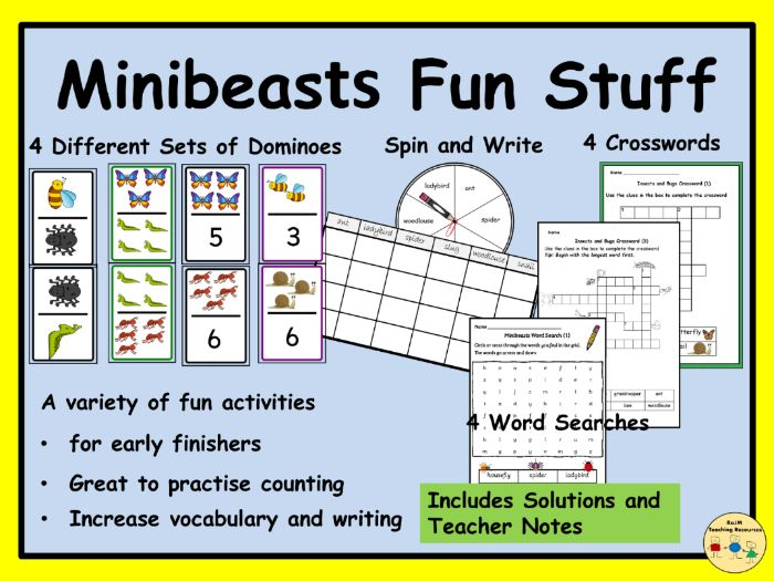 Minibeasts Insects Bugs Dominoes Crosswords Word Searches Spin and Write Games