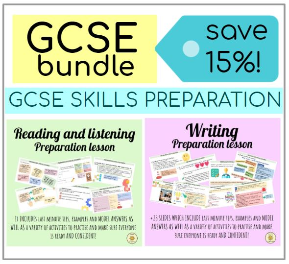 BUNDLE - SPANISH GCSE WRITING + READING and LISTENING SKILLS EXAM PRACTICE AND PREPARATION