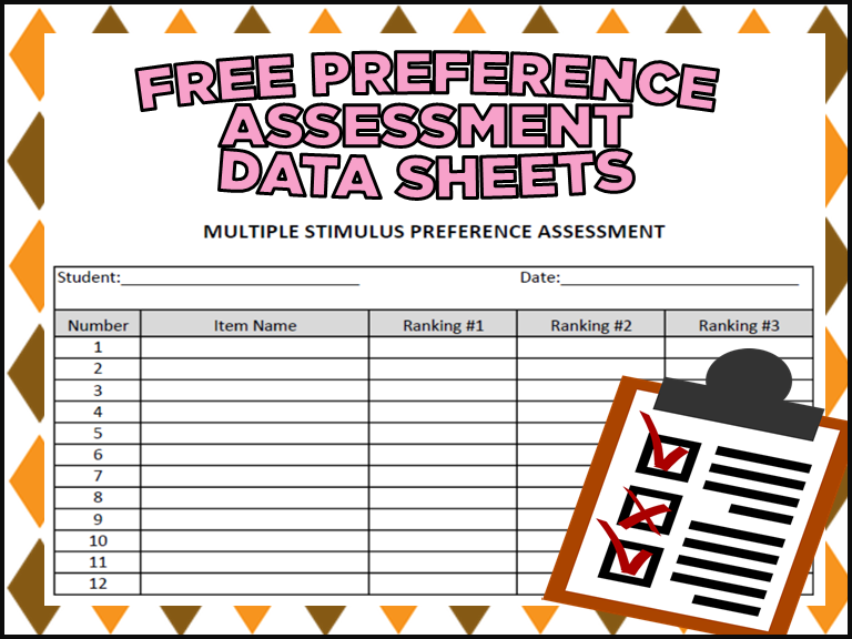 FREE Preference Assessment Data Sheets (ABA and Special Education)