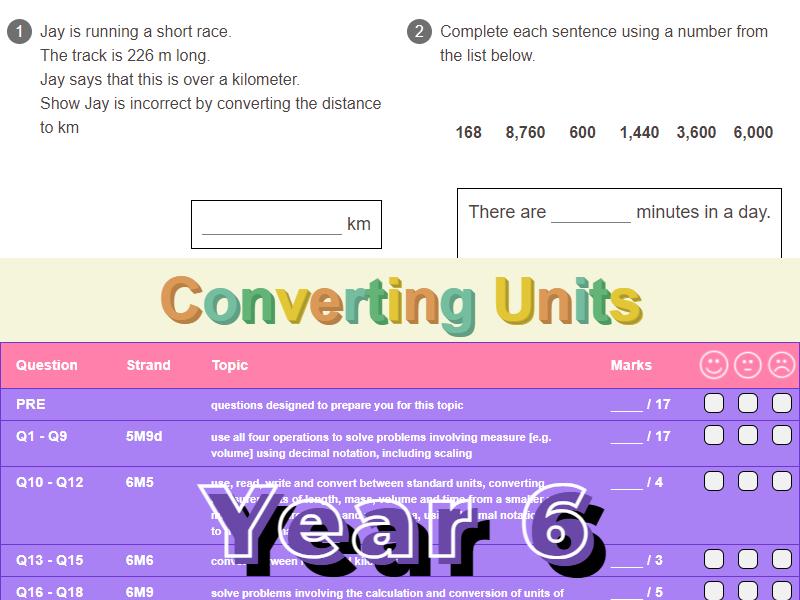 Converting Units Worksheet + Answers (KS2 - Year 6)