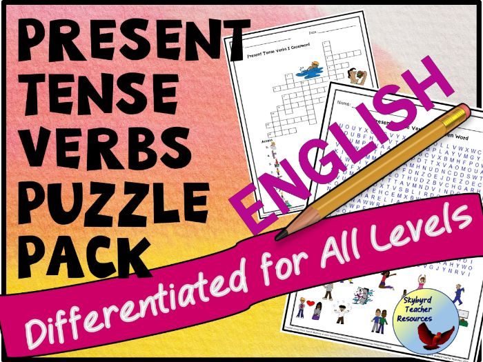 Present Tense Verbs Puzzle Pack for ESL English Language Learners