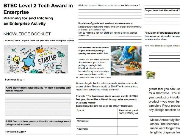 BTEC LEVEL 2 TECH AWARD ENTERPRISE Component 2 Assignment 1 Pitching and Planning for an Enterprise