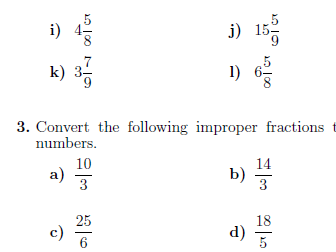 Improper fractions and mixed numbers worksheets (with solutions)