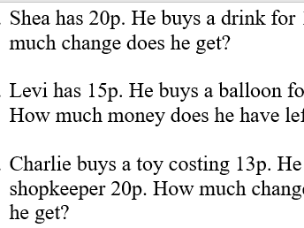KS1 Money Word Problems (Differentiated)