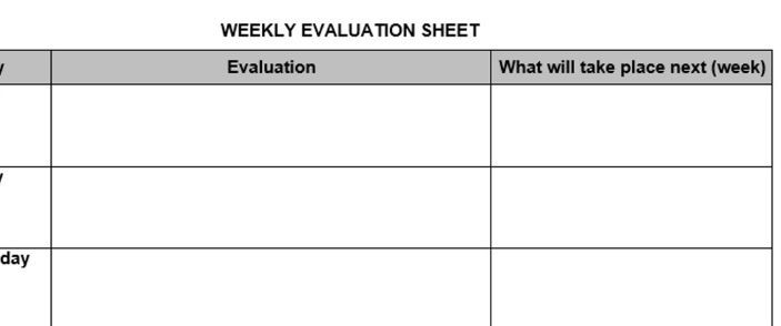 Weekly Evaluation Sheet