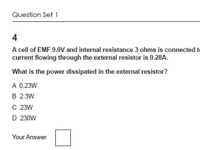 4.2 Energy Power and Resistance OCR Physics AS and A level Multiple Choice Questions