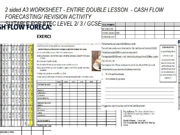 Cash Flow Forecasting A3 worksheet- Btec Level 2/Level 3 / GCSE Business Studies