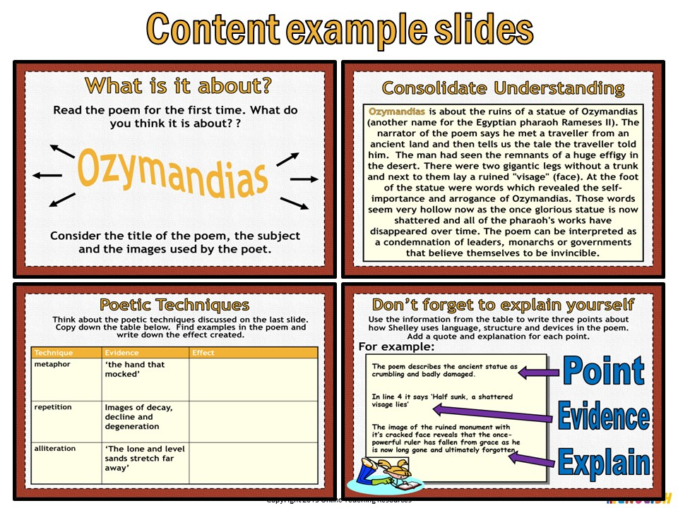 ozymandias by online teaching resources