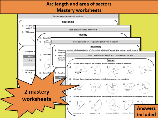 Arc length and area of sectors- mastery worksheets
