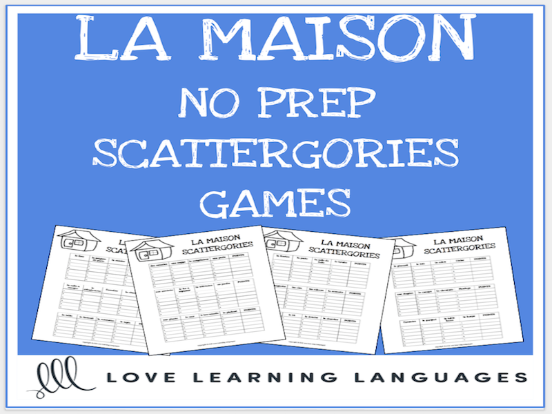 graphic relating to Printable Scattergories named La Maison printable no prep scattergories sport - French vocabulary match