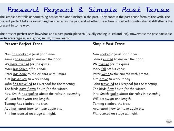 Simple past tense and present perfect Year 3 - 6