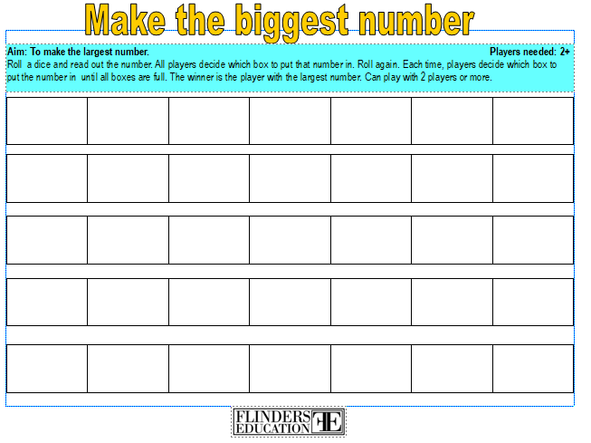 Make the biggest number- a game to play with 2+ players to explore place value