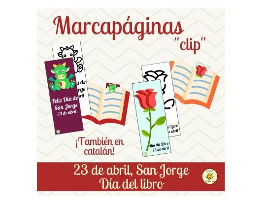Marcapáginas Sant Jordi, San Jorge y Día del Libro. Spain's book day bookmarks
