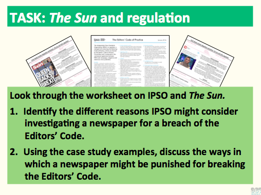 9-1 GCSE Media Studies Print Analysis lesson 3 (The Sun, newspaper industry and regulation- C1 SB)
