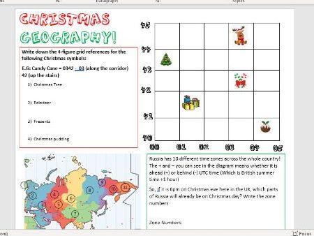 KS3 Christmas Themed Geography Worksheet