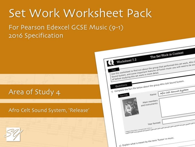 Worksheet Pack for Pearson Edexcel GCSE Music (2016 Specification) - Area of Study 4, Set Work 7