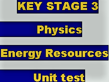 KEY STAGE 3 ENERGY RESOURCES END OF UNIT TEST