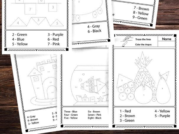Tracing worksheets: trace the shapes, color by number, color by sum