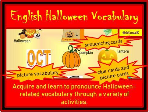 English, EAL, EFL, ESL: Halloween Vocabulary Activity Pack - 42 illustrated items