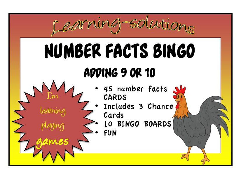 ADDITION NUMBER FACTS - BINGO GAME - Adding 9 or 10