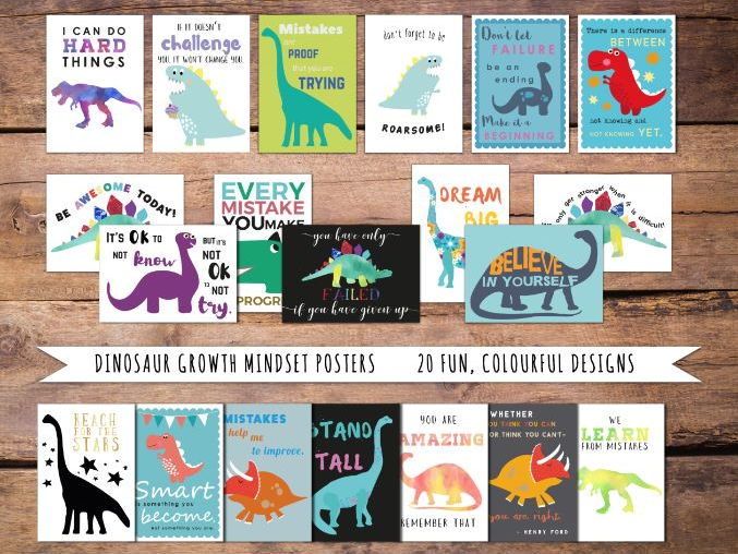 Growth Mindset Motivational Posters, Dinosaur Theme