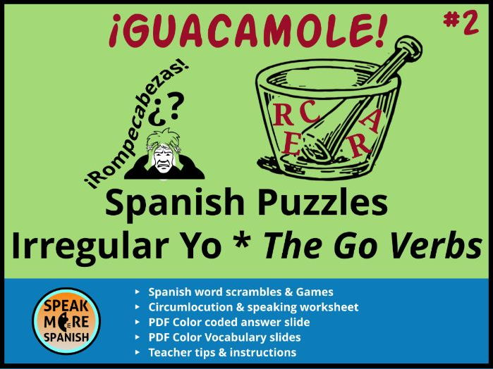 Spanish Puzzles Games Irregular Yo Go Verbs Verbos Irregulares