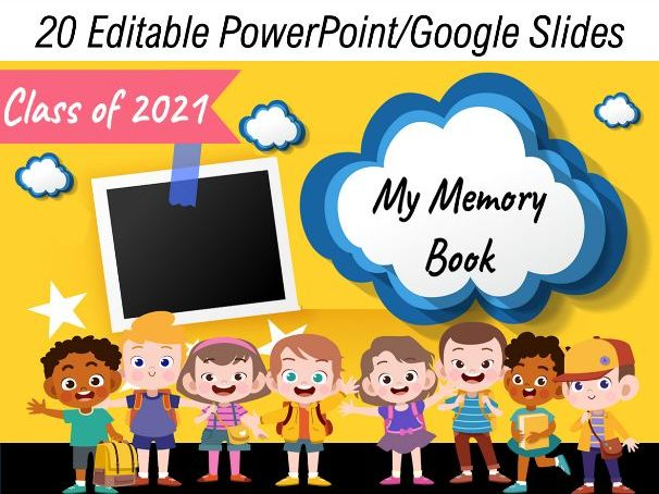 Virtual End of the Year Memory Book for Preschool, TK, Kindergarten to 5th Grade