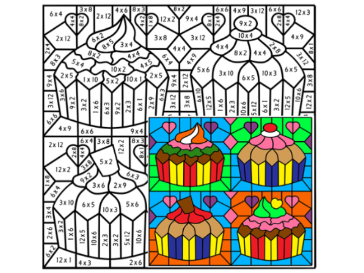 Times Tables Colouring Puzzle Three by Arithmetints