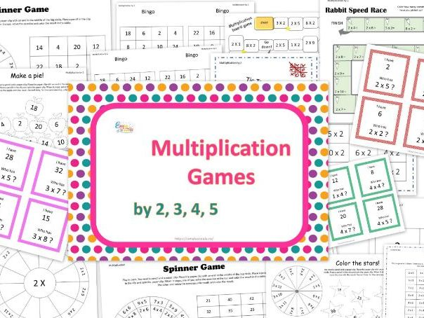 Multiplication Games, Multiplication by 2, 3, 4, 5 in English