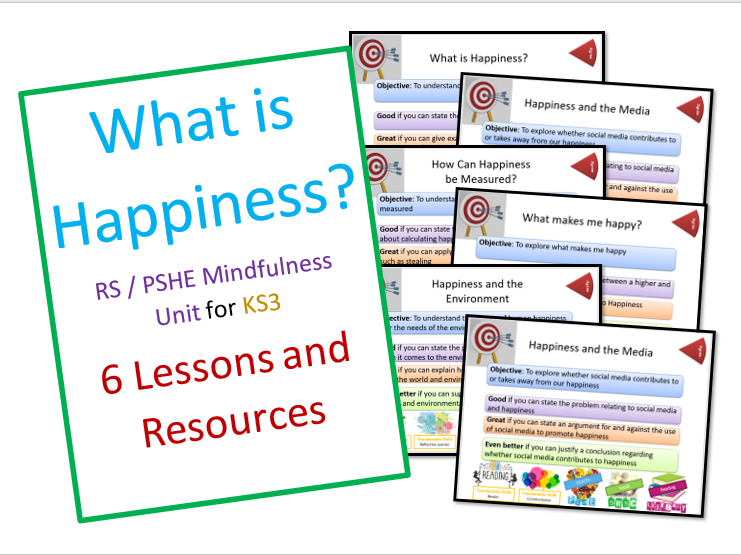 RS / PSHE Unit - What is Happiness? 6 Lessons and Resources