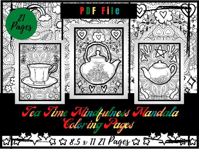 Tea Time Mandala Colouring Pages For Kids, Traditional Mug, Teapot Printable PDF