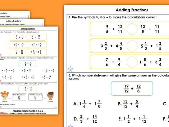 Year 6 Adding Fractions Autumn Block 3 Maths Homework Extension