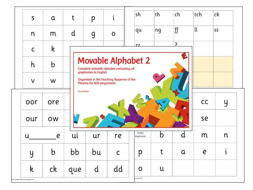 Movable Alphabet 2 - Phonics for SEN Teaching Sequence with Base Plates