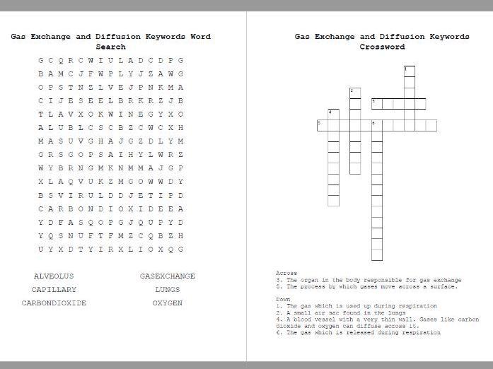 Gas Exchange Word Search & Crossword Diffusion Keywords
